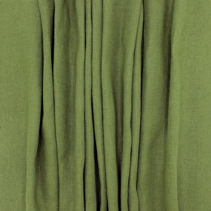 100% washed linen - plain khaki green
