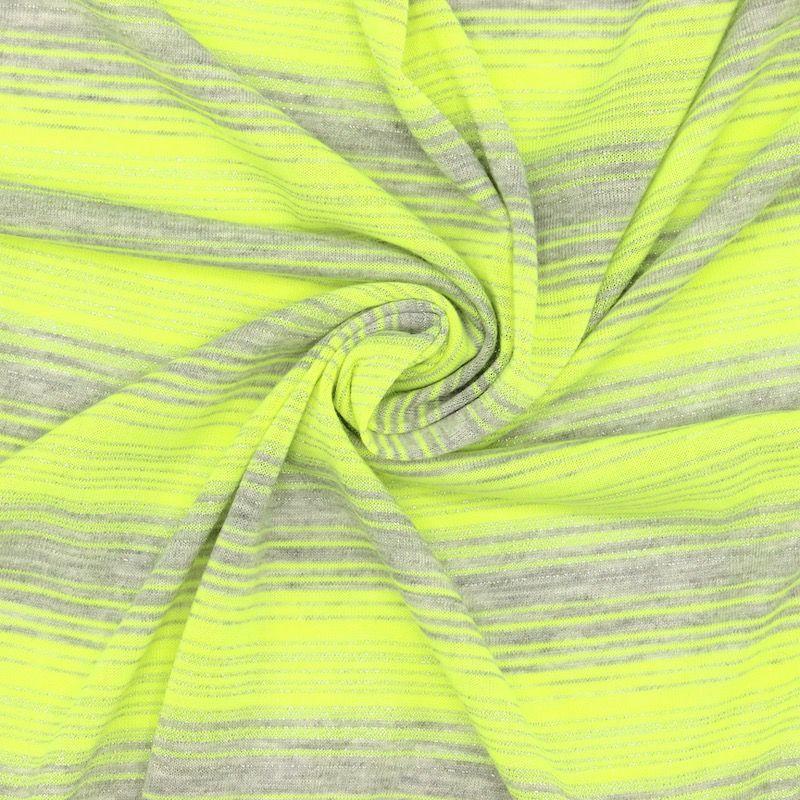 Tissu maille rayures fil fantaisie - gris/jaune