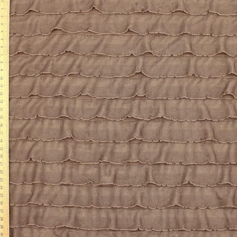 Tissu maille à volants - brun