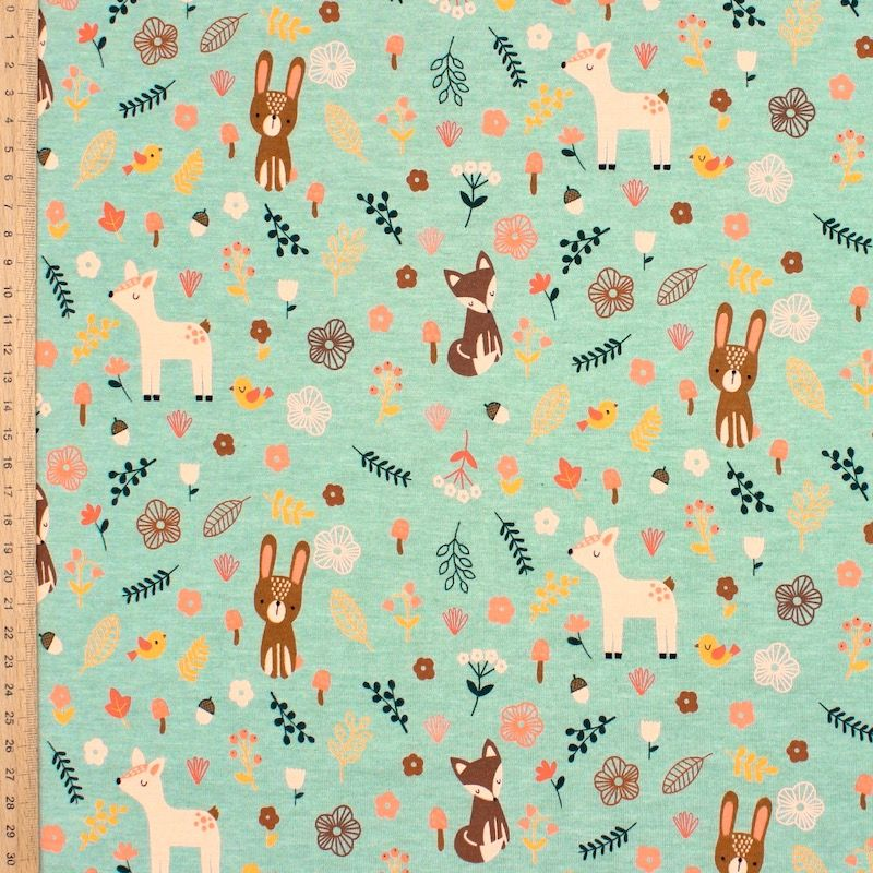 Jersey fabric with forest animals - dark mint green