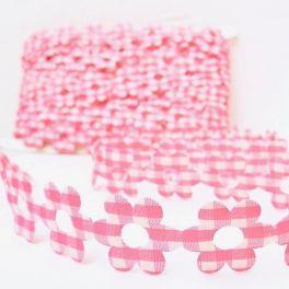 Bloem biesje met witte en roze Vichy