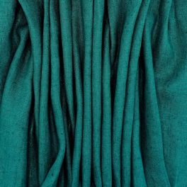 100% washed linen - plain emerald green