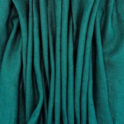 100% washed linen - plain emerald green