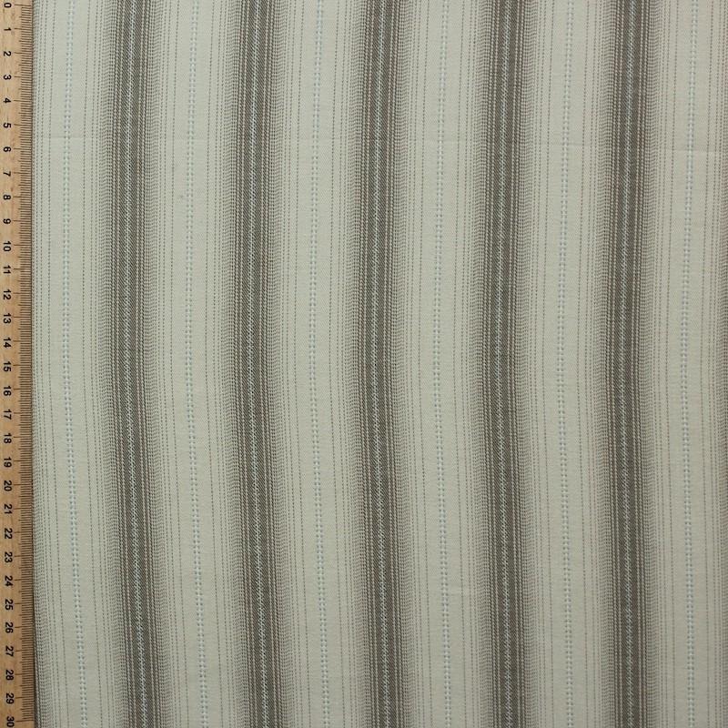 Tissu en coton à lignes vert, orange et jaune sur fond blanc