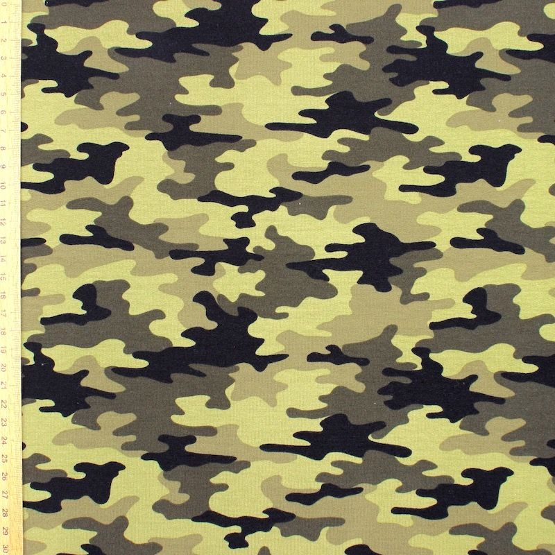 Tissu jersey French terry militaire - kaki
