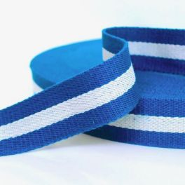 Polyester belt blue and off-white