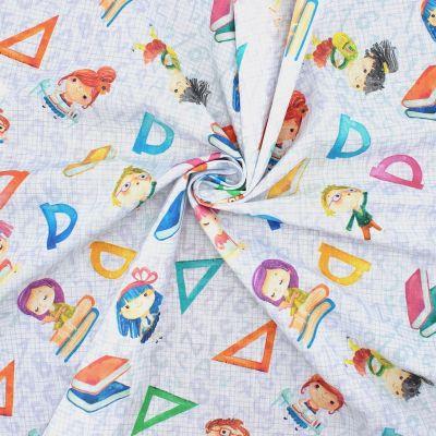 Tissu coton écolières - multicolores