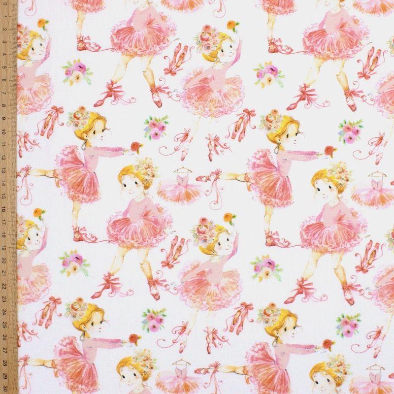 Tissu coton ballerines - blanc