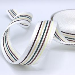 White polyester belt colorful striped