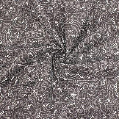 Tissu coton vagues - anthracite