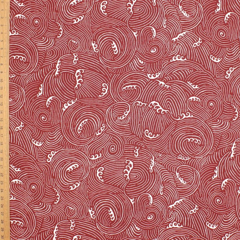 Tissu coton vagues - bordeaux