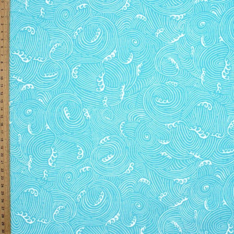 Tissu coton vagues - turquoise
