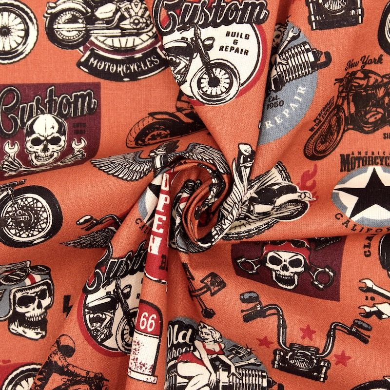Tissu coton rider - rouille