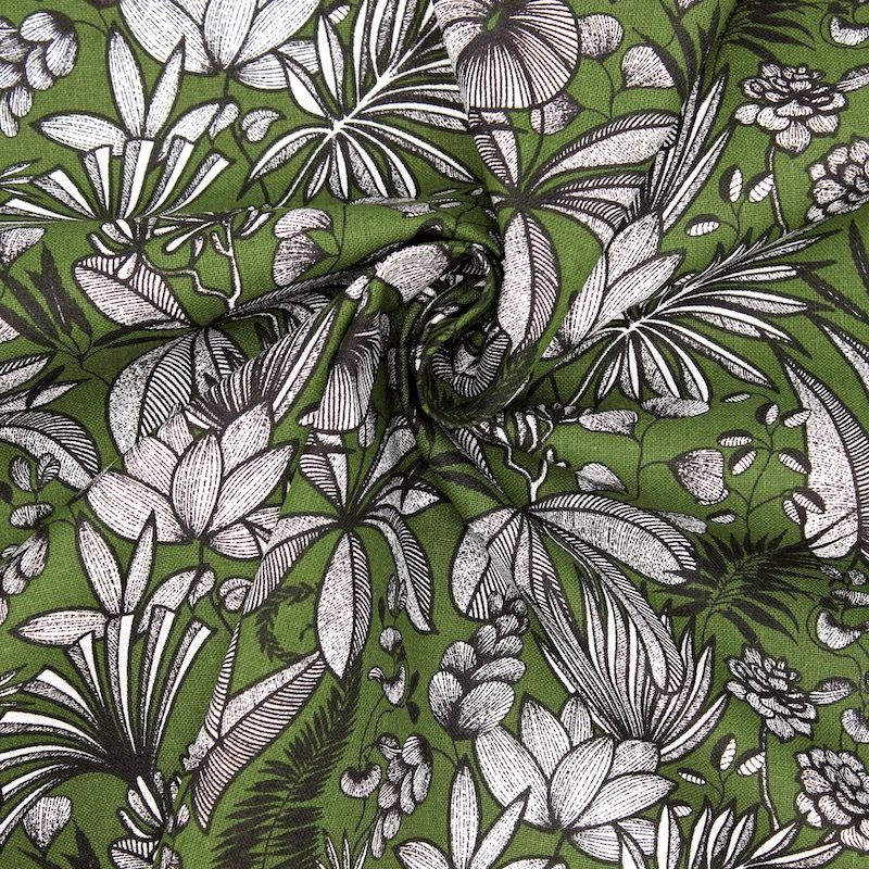 Cotton fabric with foliage print - cactus green