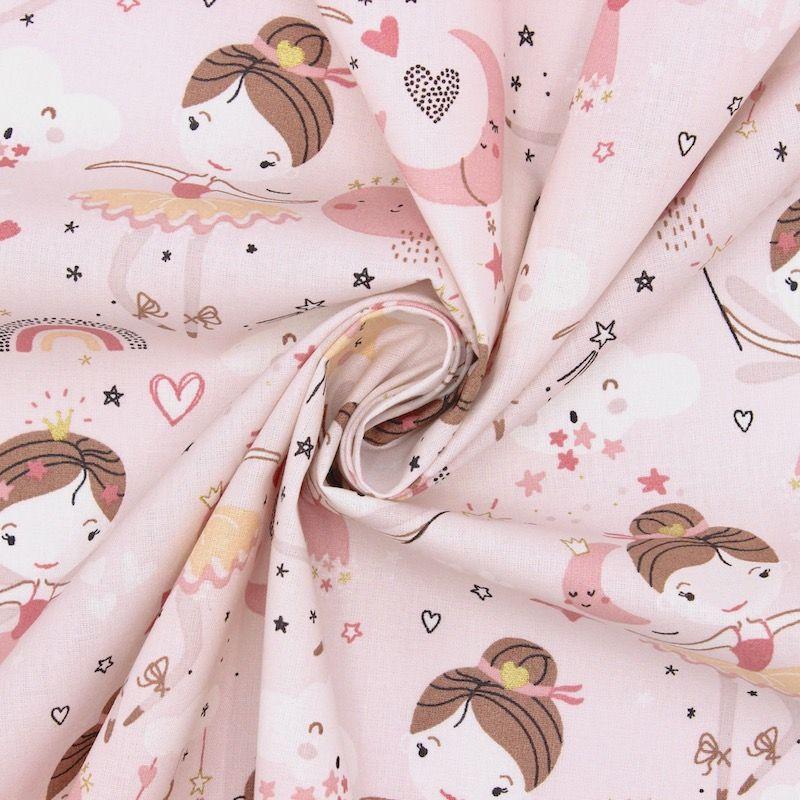 Tissu coton ballerine - rose
