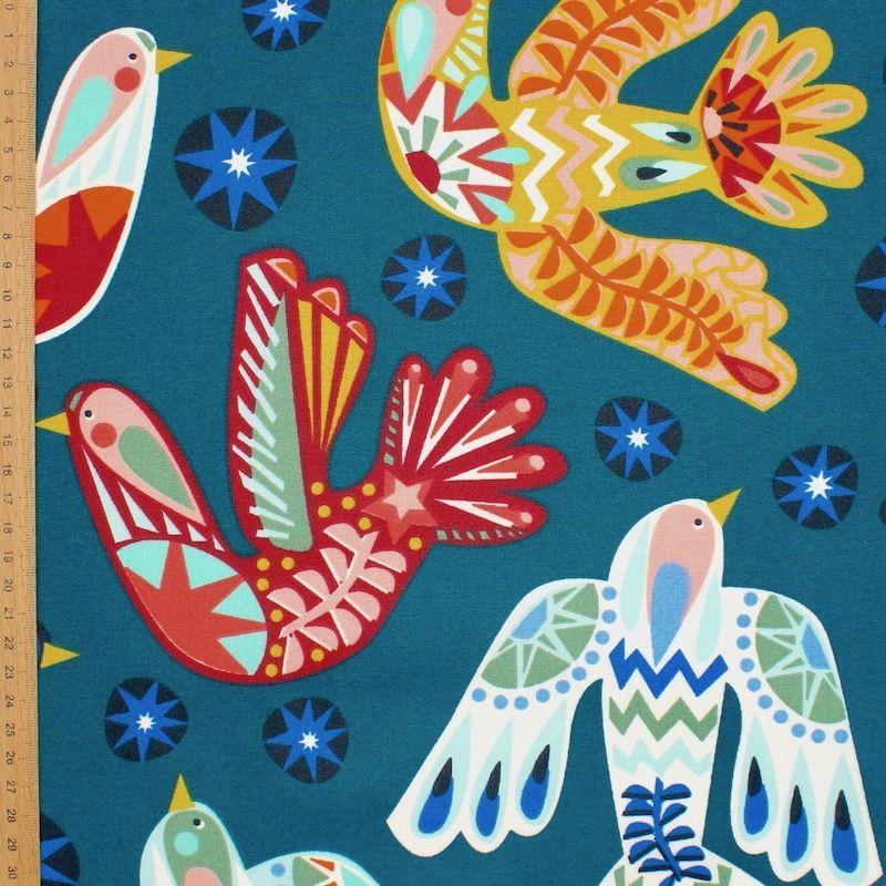 Gecoat katoen met duiven - appelblauwzeegroen