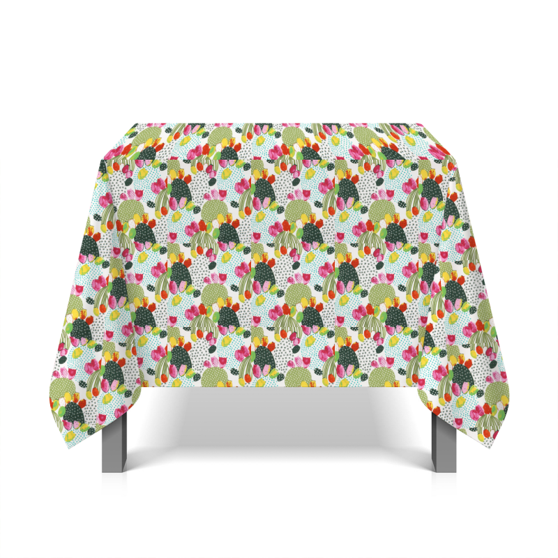 Coated cotton with flowers - white