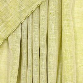 Transparent veil with leaded linen aspect - pistachio green