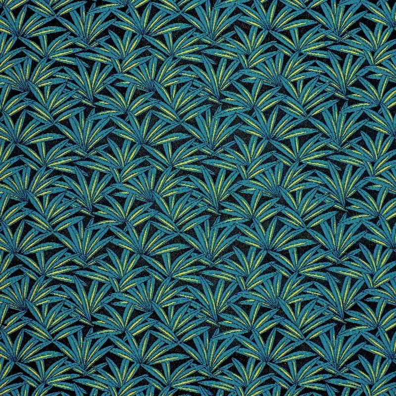 Fabric with foliage pattern - teal / gold
