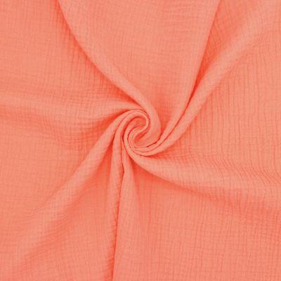 Tissu double gaze de coton papaye