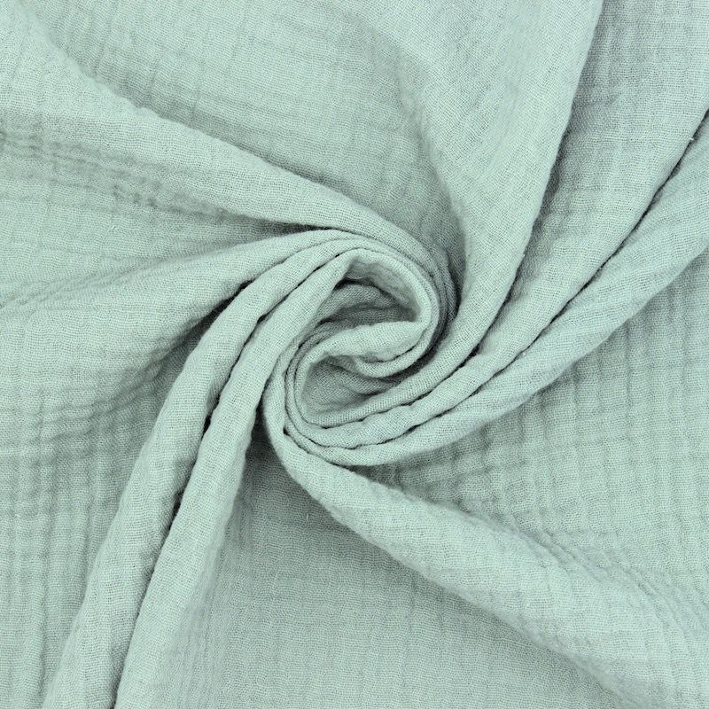 Tissu double gaze de coton vert de gris