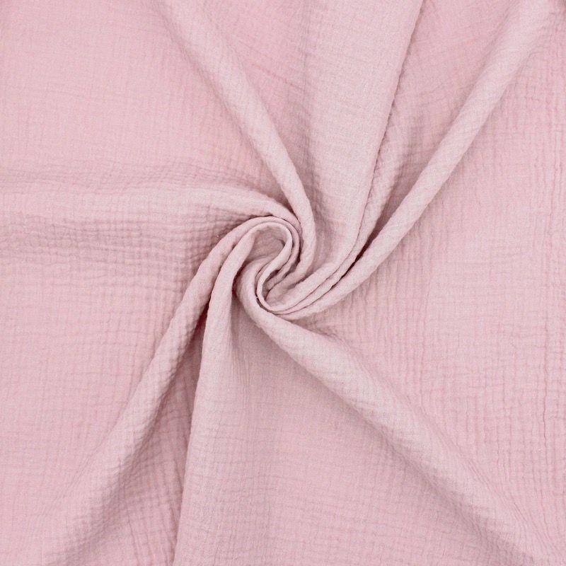 Tissu double gaze de coton rose pétale