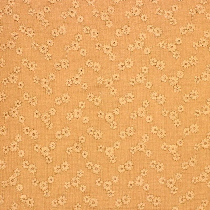Tissu double gaze brodée - camel
