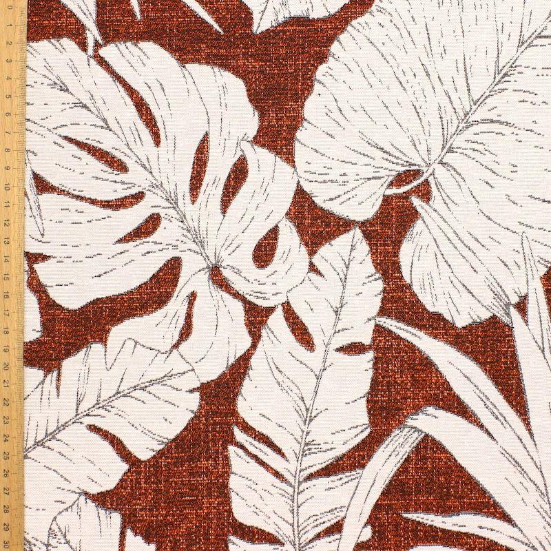 Jacquard meubelstof met planten - roestkleurig