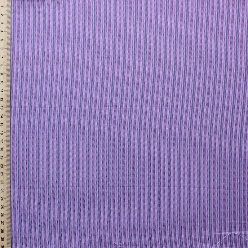 Tissu en coton gratté à lignes mauves