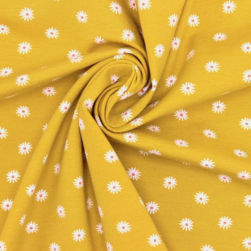 Tissu jersey fleurs - jaune
