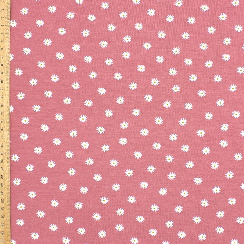 Tissu jersey fleurs - rose balais