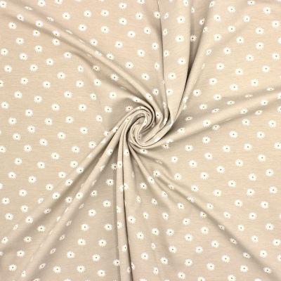 Tissu jersey fleurs - sable