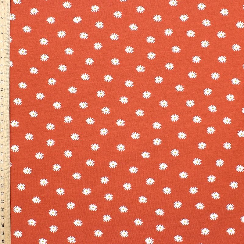 Jersey fabric with flowers - brick-colored