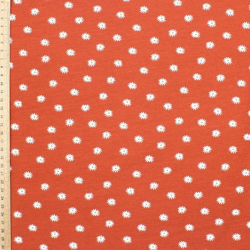 Tissu jersey fleurs - brique