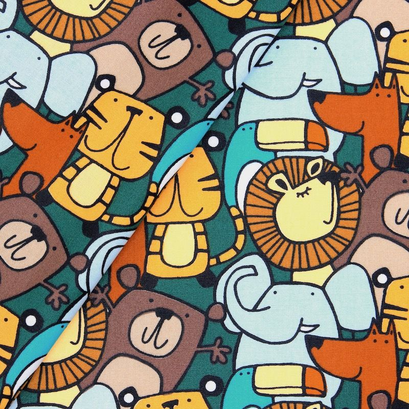 Coated cotton with animals - multicolored