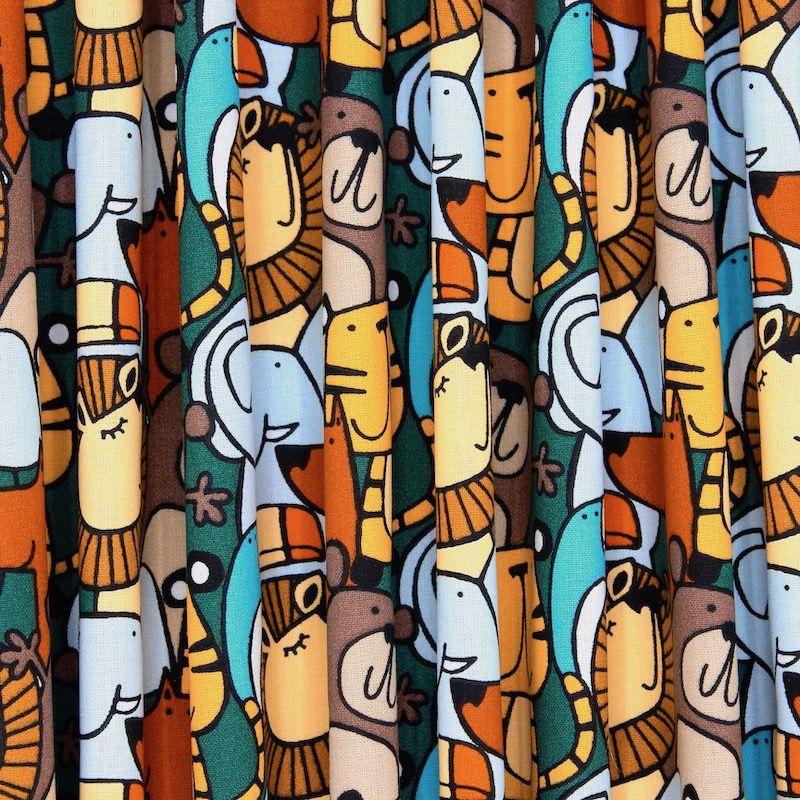 Katoen met dieren - kleurrijk