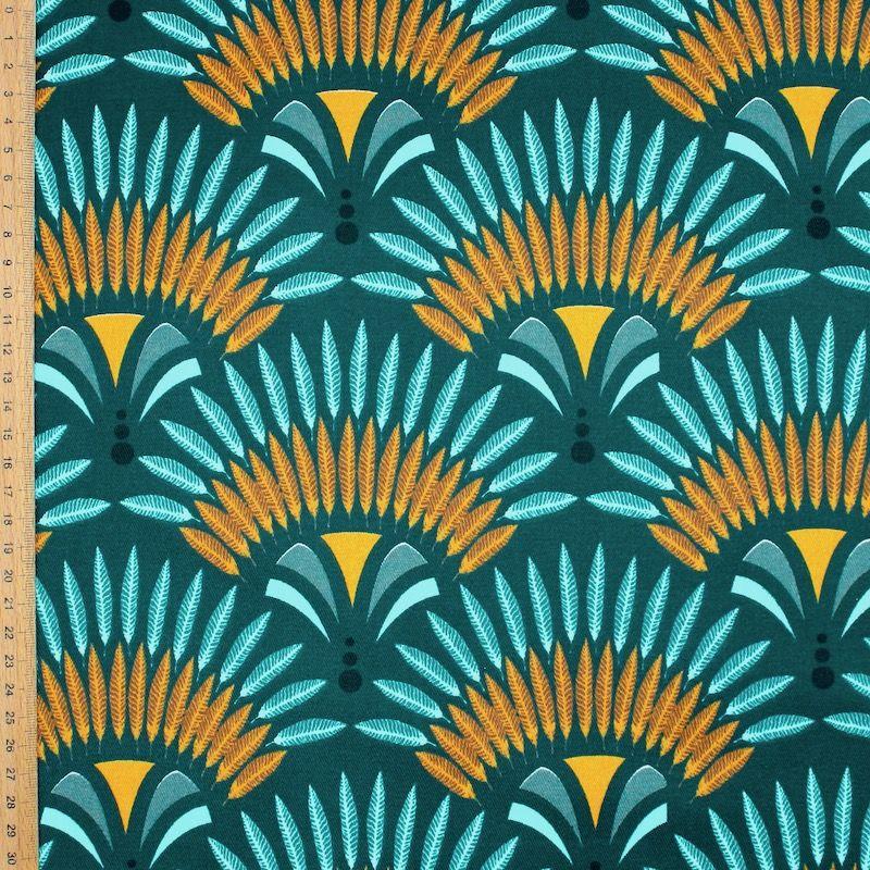 Gecoat canvas met keperbinding - appelblauwzeegroen