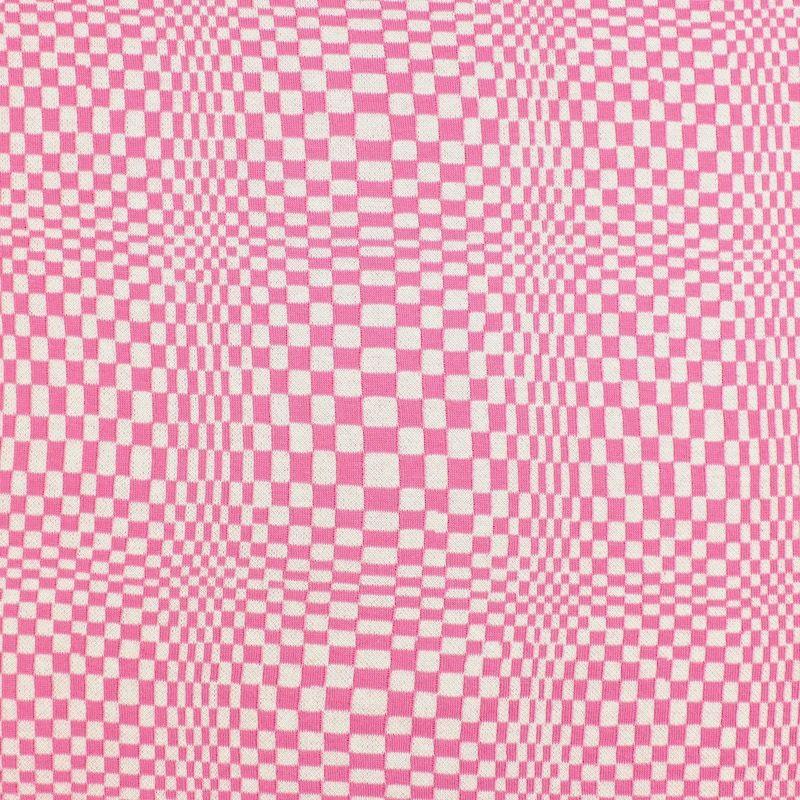 Tissu type maille rose et crème
