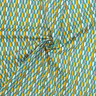 Katoen met pluimen - celadongroen