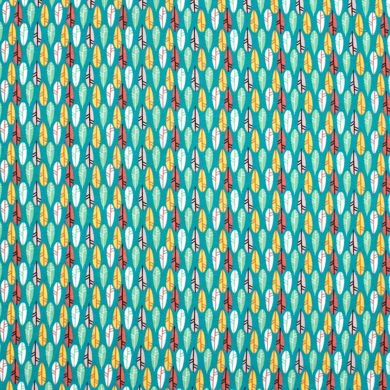 Tissu coton plumes - canard