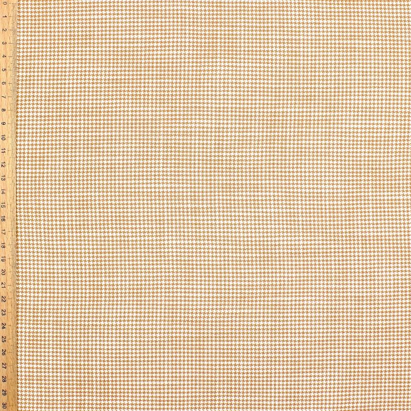 Jacquard fabric with houndstooth pattern - beige