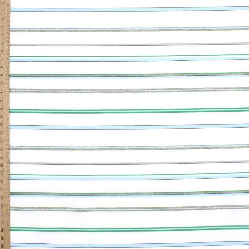 Tissu jacquard à rayures - vert et bleu