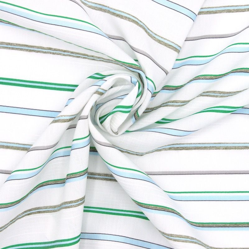 Striped jacquard fabric - green and blue