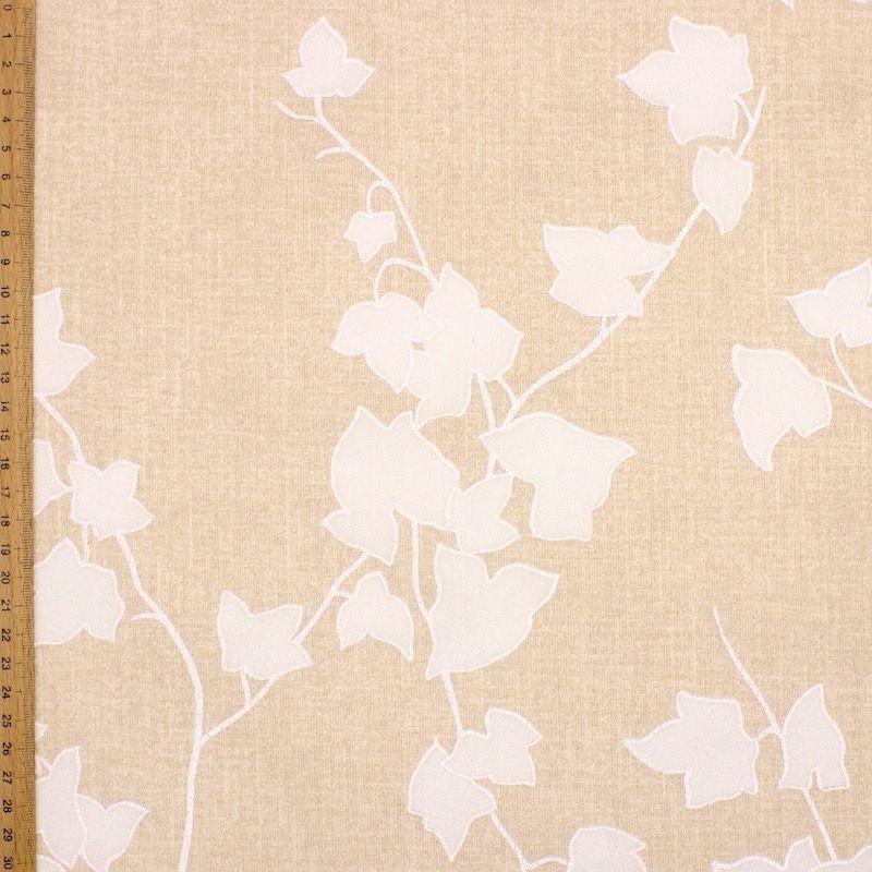 Meubelstof met bloemen - beige