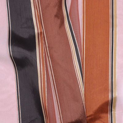 Transparent veil with tricolored stripes - rust-colored