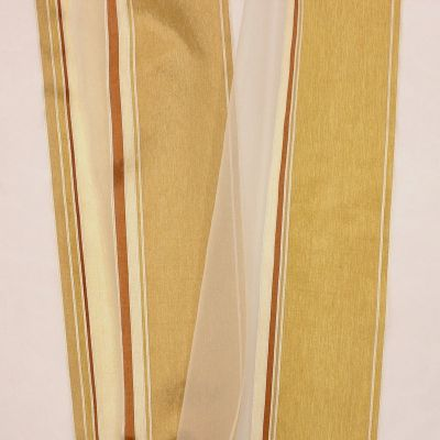 Transparent veil with tricolored stripes - champagne