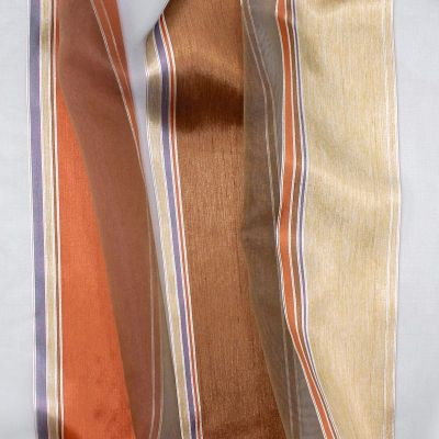 Transparent veil with tricolored stripes - fawn-colored