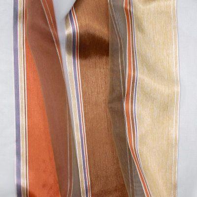 Voile transparent bande tricolore - fauve