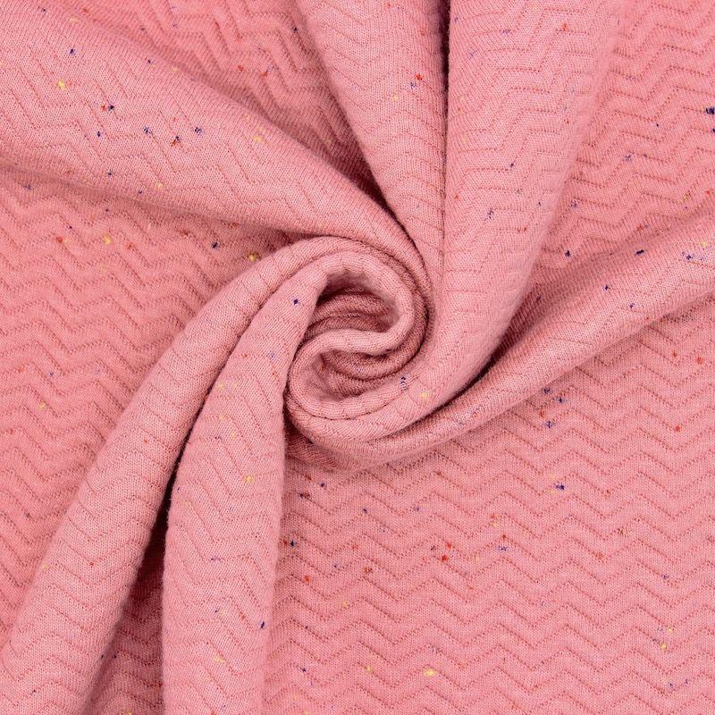 Tissu sweat moucheté - rose