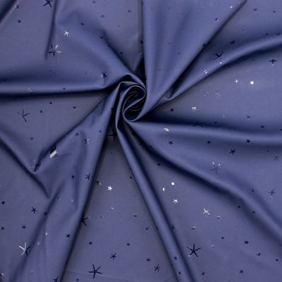 Waterproof fabric with stars - navy blue